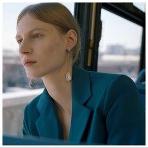 NWT. Zara Silver Shimmery Chain Earrings.